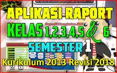 Aplikasi Rapor SD Kelas 1,2,3,4,5 dan 6 Semester 1 Kurikulum 2013 Revisi 2018