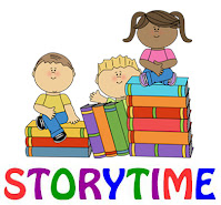 Text stating Storytime and clipart of 3 children and piles of books