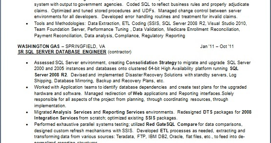 Etl Ssis Architect Contractor Sample Resume Format In Word