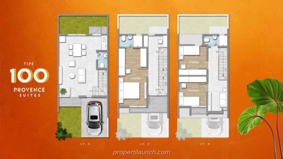 Denah Rumah Provence Suites BSD Tipe 100
