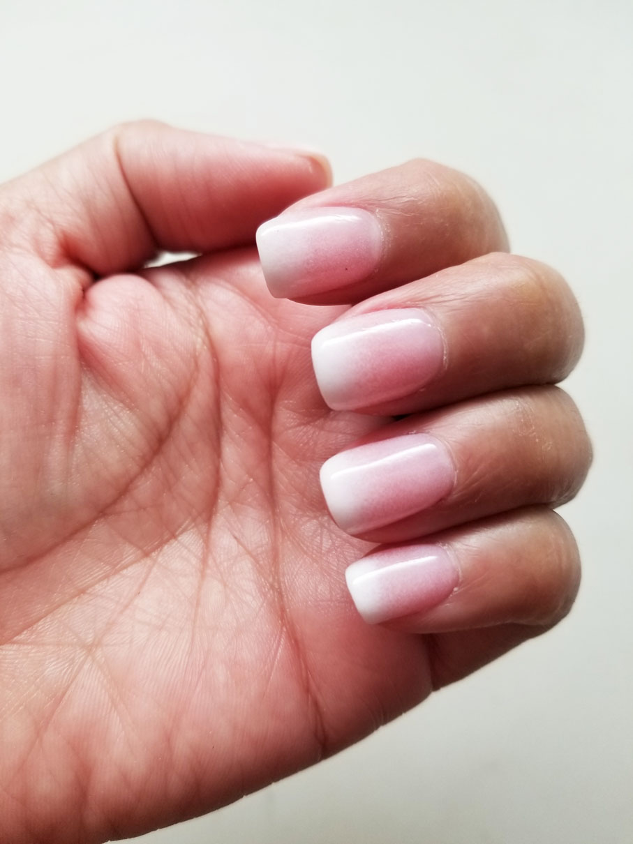 pink and white ombre nails - HD 907×1210