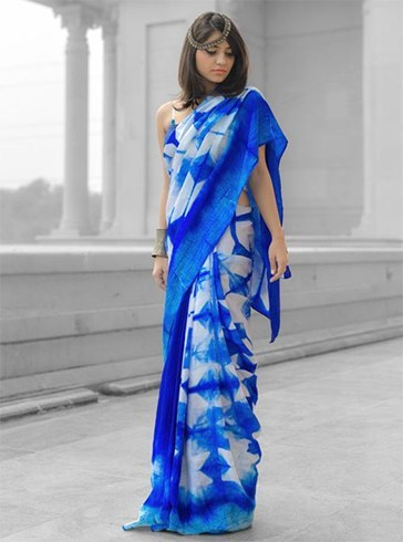 Easy Ideas or Tips Design a Plain Saree at Home Tie and Dye