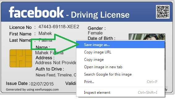 saving FB driving license
