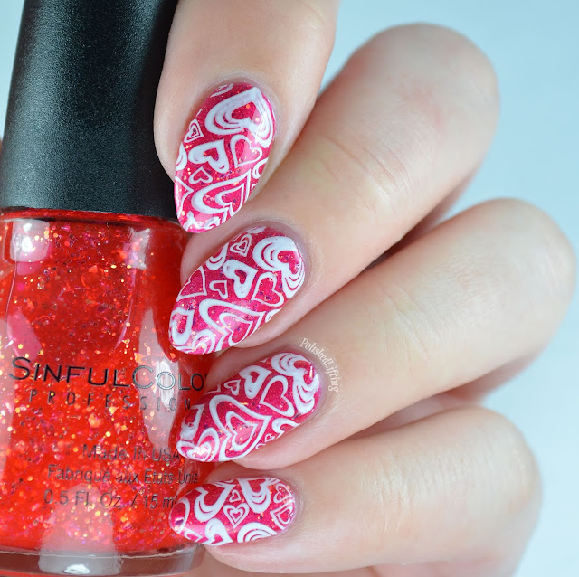 Valentine's Day stamped heart manicure