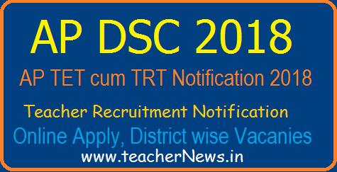 AP DSC 2018 Notification, TET cum TRT Teachers Recruitment 2018 AP DSC Teachers Recruitment Vacancies District Wise, DSC Online Application form Details Download here.