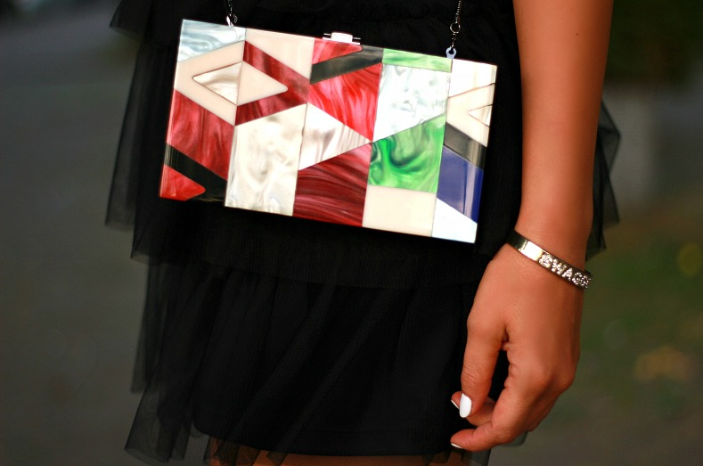 Zara graphic print box bag, Myca Couture jewelry