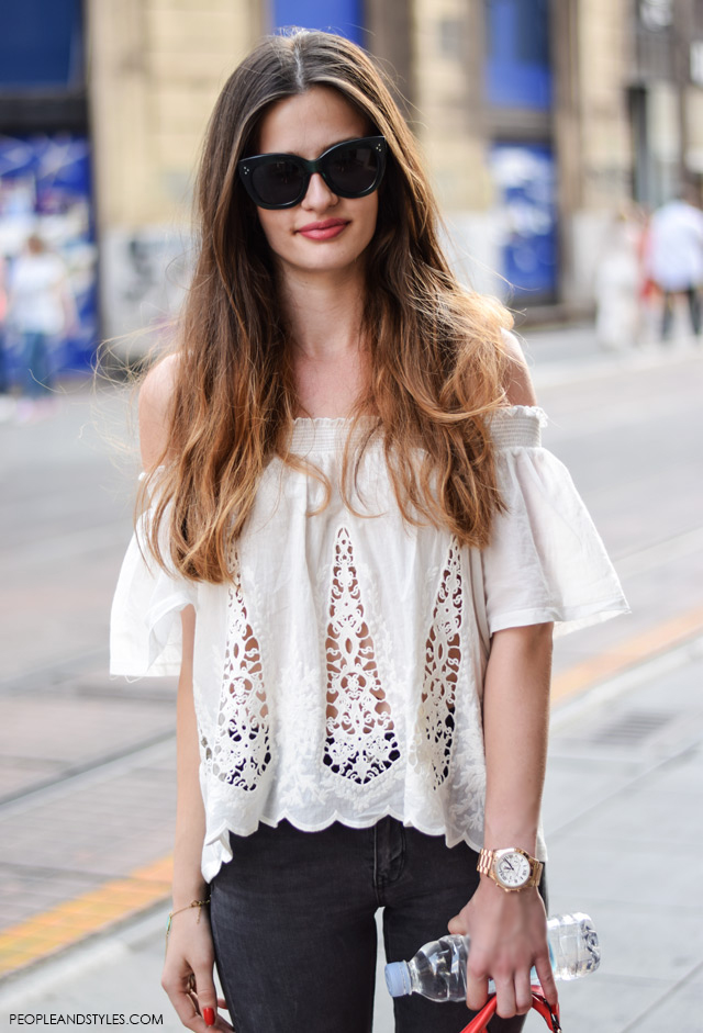 How to wear off the shoulder tops, super chic street look, Zrinka Barkiđija