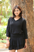 Actress Hebah Patel Stills in Black Mini Dress at Angel Movie Teaser Launch  0104.JPG