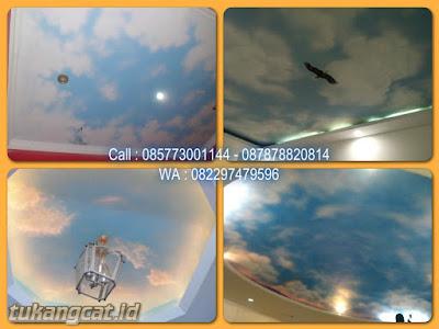 Gambar motif awan di plafon