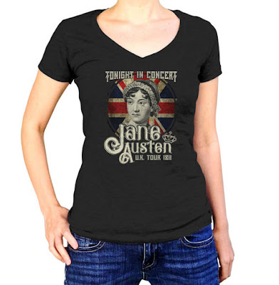 Jane Austen T-shirt on Etsy with review by Tomes and Tequila blog