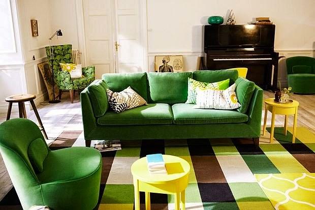 Inspiracje w moim mieszkaniu zielona kanapa do salonu - Salon rustico ikea ...