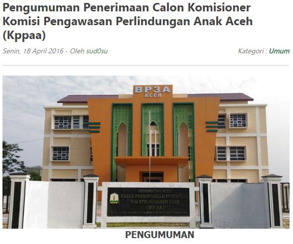 Penerimaan Calon Komisioner Komisi Pengawasan Perlindungan Anak Aceh (KPPAA)