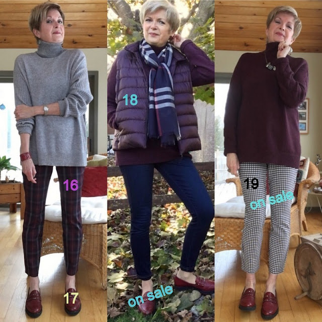 woman in three fall outfits