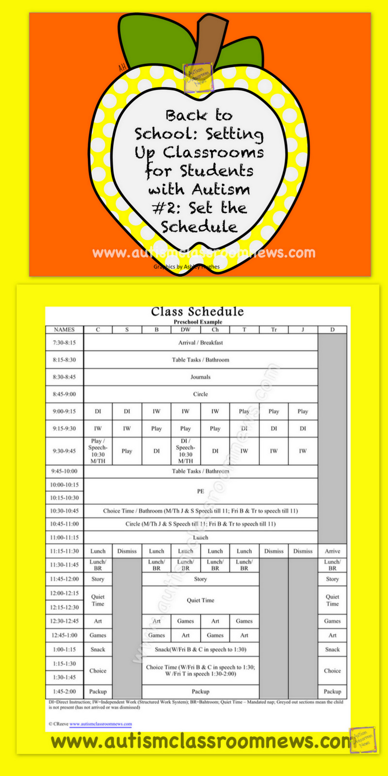 special education schedule template - autism classroom news back to school setting up
