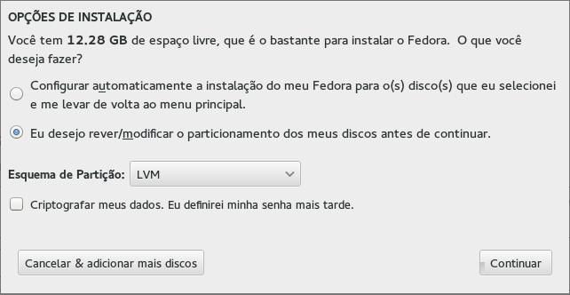 Opções de Instalação - Fedora