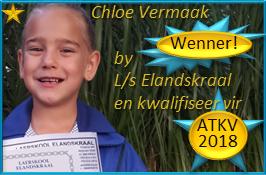 Chloe Vermaak, Gr.1 kry EERSTE PLEK met die skitterende lewering van haar toesprakie by L/s Elandskraal en kwalifiseer vir ATKV-2018-Redenaarskompetisie! Baie geluk, Chloe – jy is 'n sterretjie!
