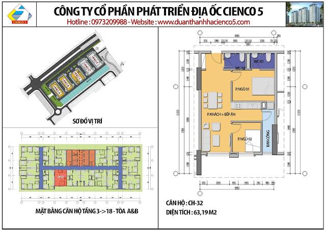 Mặt bằng căn hộ CH32 tầng 3-18 tòa HH02A&B