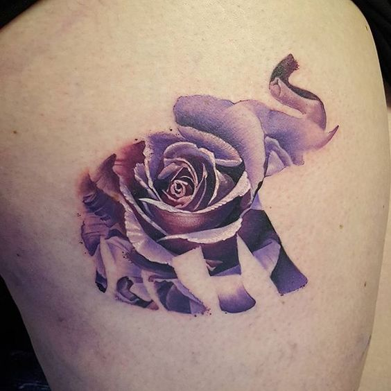 Colorful Elephant Rose Tattoo Designs
