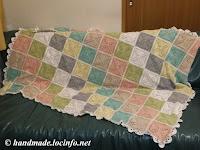 handmade of crochet blanket by motif, 鈎編みのモチーフで手作りのブランケット, 手工钩织拼图花样的毛毯