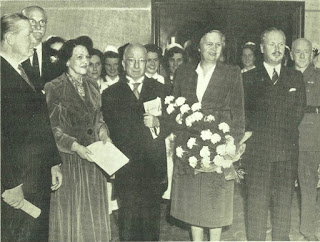 Photograph shows American Ambassador (Mr. George Garrett); Lord Farnham (President of the Hospital); Mrs. George Garrett; The Irish President (Sean T. O'Kelly); Mrs. O'Kelly; and Mr. Edward Bewley (Chairman). In attendance at the Gala American Concert to launch the Adelaide Hospital Fundraising Campaign (1950), Dublin, Ireland