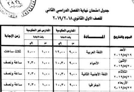 جدول إمتحانات الصف الاول الثانوى المعدل الترم الثانى دور مايو 2019