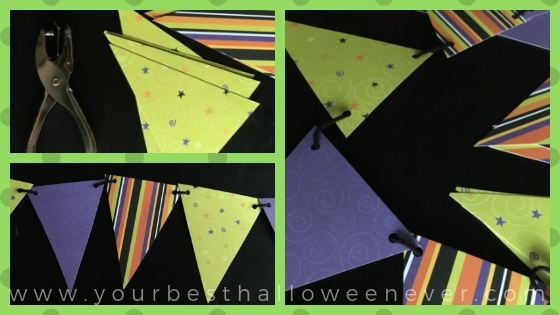 Halloween DIY paper pennant banner collage