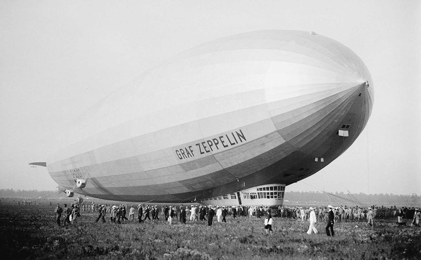 The giant German dirigible Graf Zeppelin, at Lakehurst, New Jersey, on August 29, 1929.
