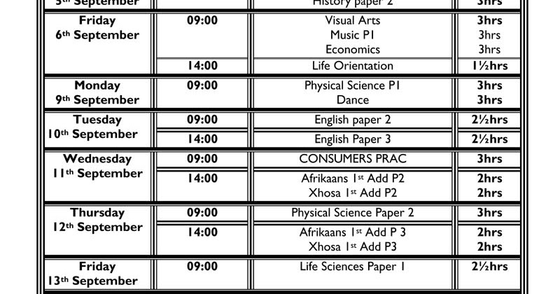 Camps Bay High School: CBHS Grade 12 Prelim Exam Timetable
