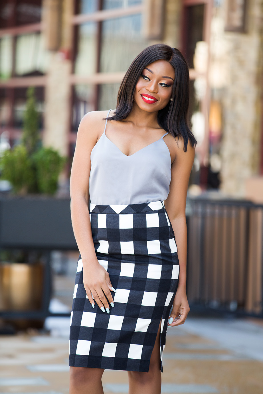 Banana republic gingham midi pencil skirt, www.jadore-fashion.com