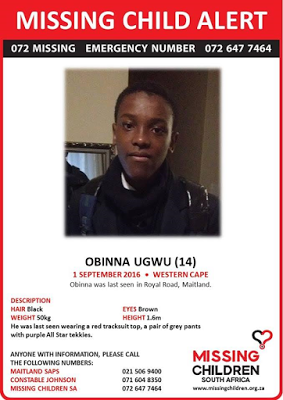 14-year-old Nigerian kid has been accounted for missing in Cape Town, South Africa.