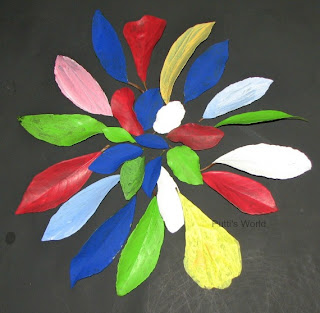 Kids Flower Spring Crafts Painted leaves