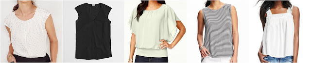Women's LC Lauren Conrad Pleated Top • $26.99 (reg $36) Factory cap-sleeve shirttail blouse • J.Crew Factory • $35.50 (reg $60) Style & Co. Flutter-Sleeve Banded-Hem Top • Style&Co. • $24.99 (reg $50) Sleeveless Split-Back Tank for Women • Old Navy • $9–11.50 Crochet Gauze Tank for Women • Old Navy • $22 (reg $25)