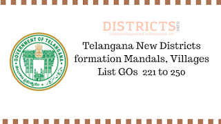 Telangana New Districts formation Mandals, Villages List GOs  221 to 250