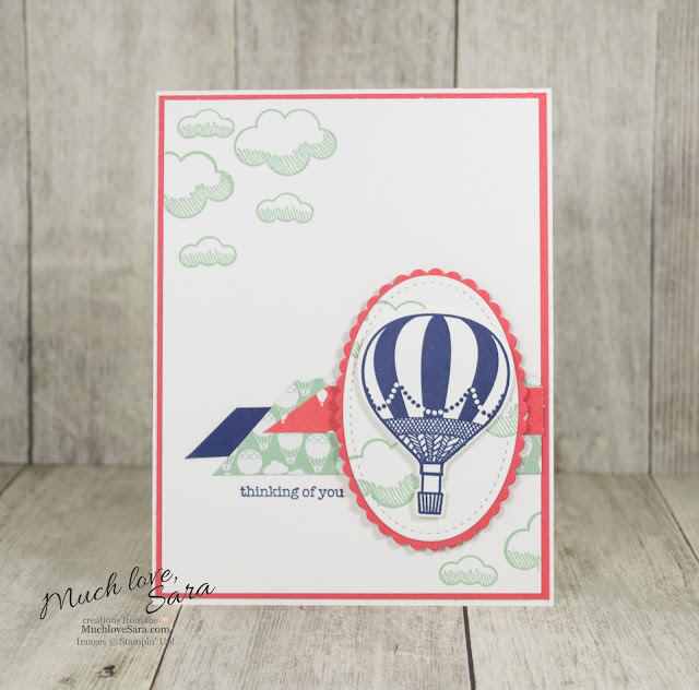 Hot Air Balloon Thinking of You Card | Handmade Card Using Stampin Up Lift Me Up Suite