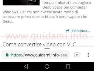 Barra indirizzi in basso alla pagina su Chrome per Android