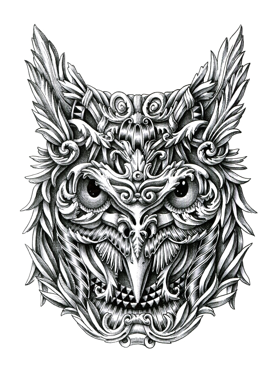 08-Owl-Alex-Konahin-Ornate-Details-in-Animal-Drawings-www-designstack-co