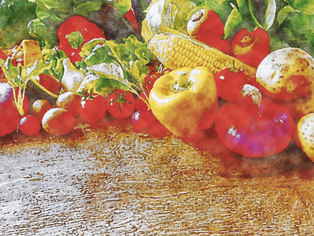 水彩画の野菜