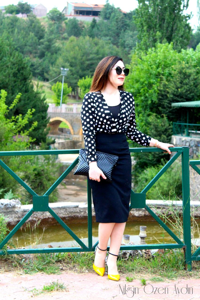 Puantiyeli Kruvaze Bluz-shein-fashion blogger-moda blogu