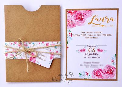 convite artesanal personalizado moderno diferente rústico estampa floral aquarelada boho casamento ou aniversário infantil 1 aninho jardim encantado papel kraft