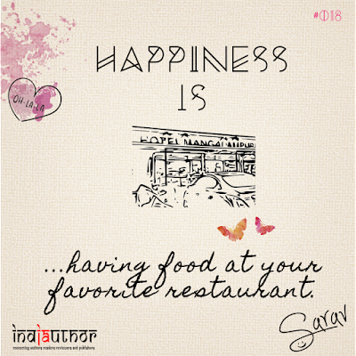Happiness is having food at your favorite restaurant!