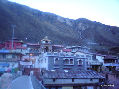 The divine sight of the Badrinath Temple in the morning in the Garhwal mountains of Uttarakhand