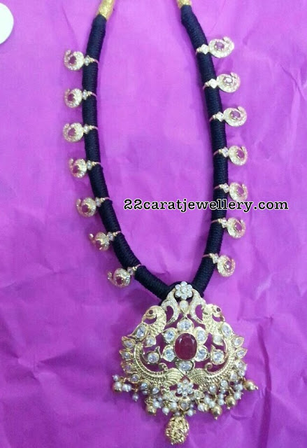 Black Thread Necklaces with Moissanite Pendants
