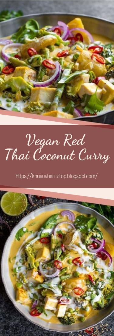 Vegan Red Thai Coconut Curry #vegan #recipevegetarian