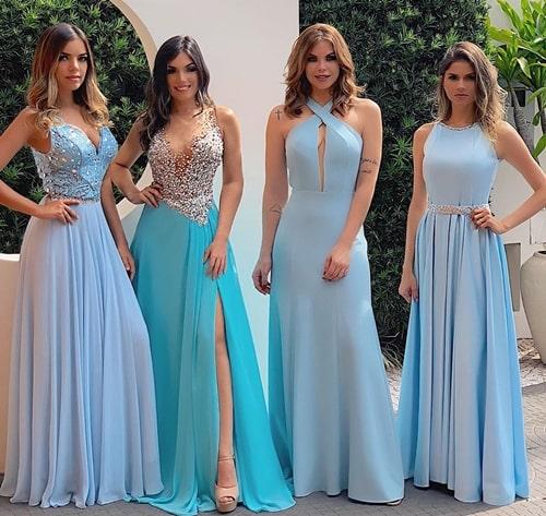 vestido longo azul claro para madrinha de casamento