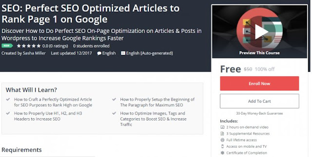 [100% Off] SEO: Perfect SEO Optimized Articles to Rank Page 1 on Google Worth 50$