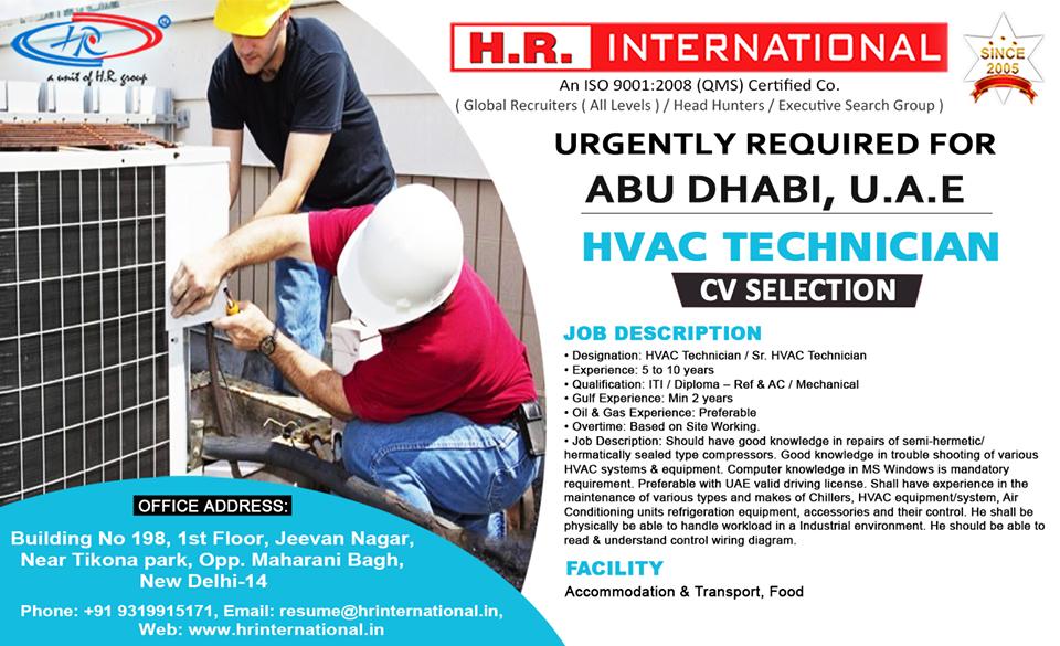 HVAC Technician Urgently required for Abu Dhabi UAE