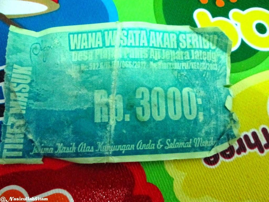 Karcis pembayaran memasuki Wisata Akar Seribu, Plajan, Jepara