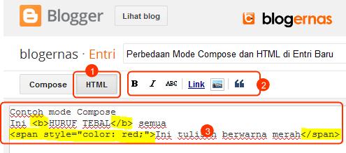 Perbedaan Mode Compose dengan HTML Entri Blogger