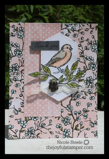 Stampin' Up ! Bird Ballad product suite card - Free As A Bird - Designer Series Paper - Bird Ballad Trinkets - Very Vanilla Scalloped Lace Trim
