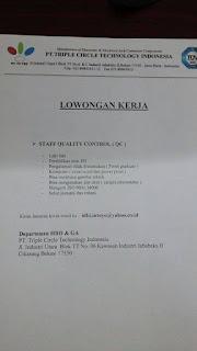 lowongan kerja PT. Triple Circle Technology Indonesia